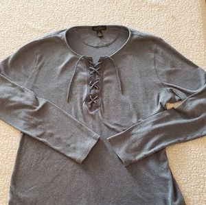Grey lace up shirt from Lauren by Ralph Lauren